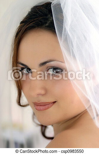 Pretty bride with veil - csp0983550