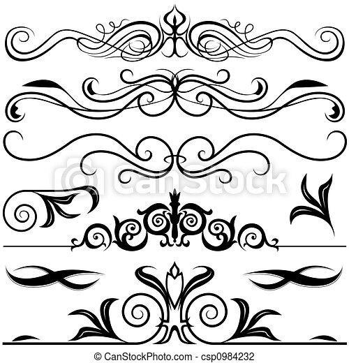 Clipart di decorativo elementi nero bianco for Greche decorative