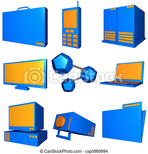 Information technology business icons and symbol set series - orange blue - csp0989994