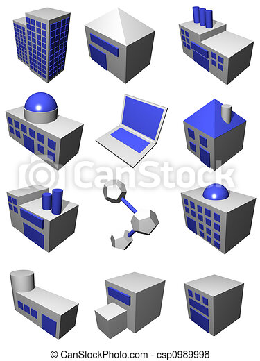 Supply Chain Logistics Industry Set in Gray Blue - csp0989998