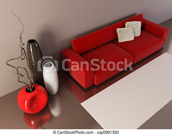 lounge room with couch and vases - csp0991350
