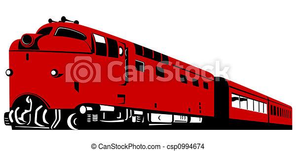 Red diesel train - csp0994674