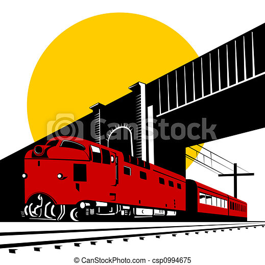 Diesel train and bridge - csp0994675