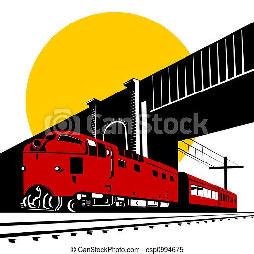Diesel train and bridge - csp0994675