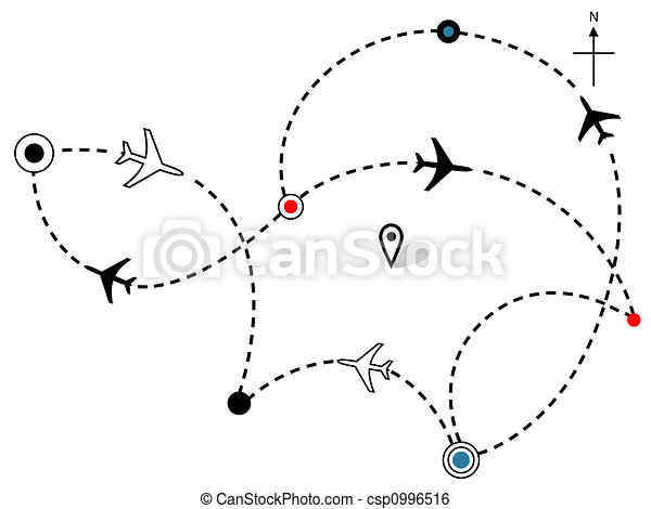Airline Plane Flight Paths Travel Plans Map - csp0996516