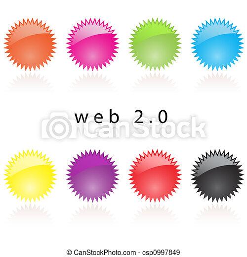 Web 2.0 internet labels reflective - csp0997849