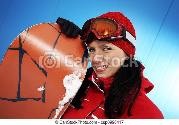young adult female snowboarder - csp0998417
