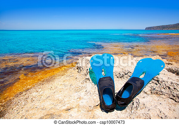 Balearic Formentera island with scuba diving fins - csp10007473