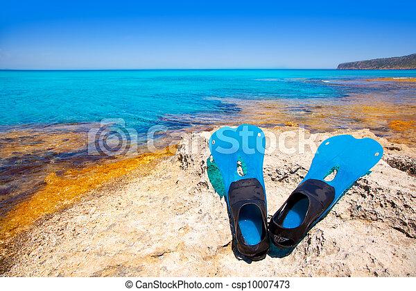 Balearic Formentera island with scuba diving fins - csp10007473