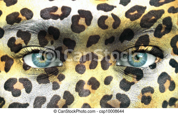 Human face with animal patterns - Save endangered species concept - csp10008644