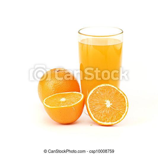 orange juice and slice isolated on white - csp10008759
