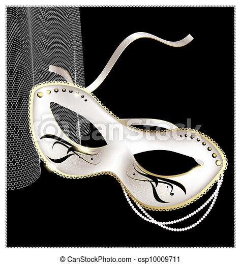 white carnival half- mask - csp10009711