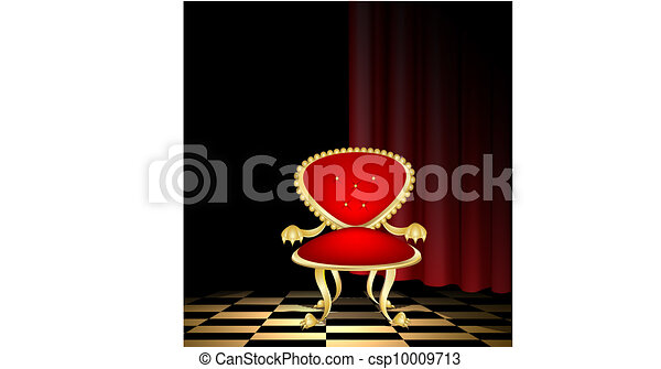 red chair in a dark room - csp10009713