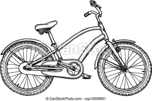 Old bicycle - vector rough drawing - csp10009951