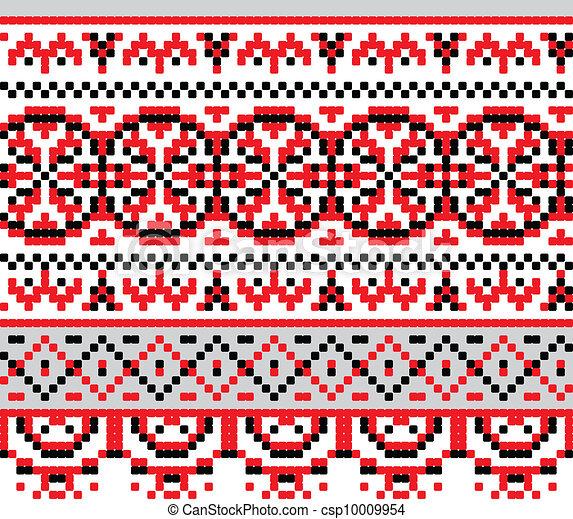 Ukrainian national pattern cross stitch background - csp10009954