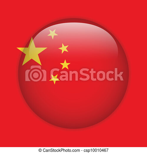 China Flag Glossy Button - csp10010467