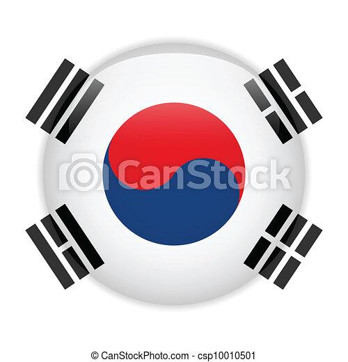 South Korea Flag Glossy Button - csp10010501