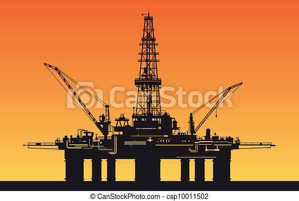 Oil derrick in sea - csp10011502