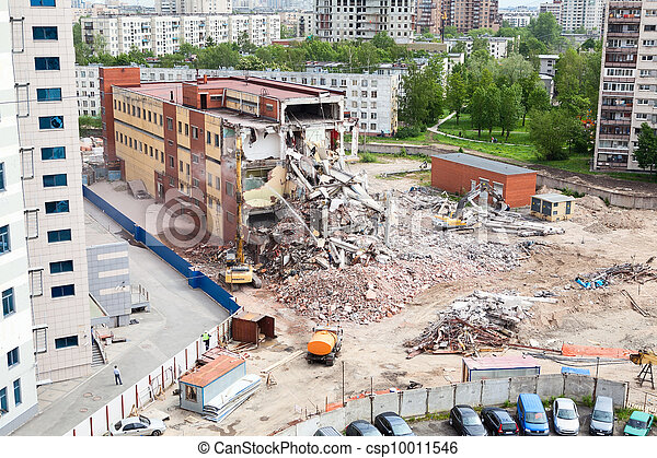 Building demolition for construction of parking for the office center at the Constitution Square, St  Petersburg, Russia - csp10011546