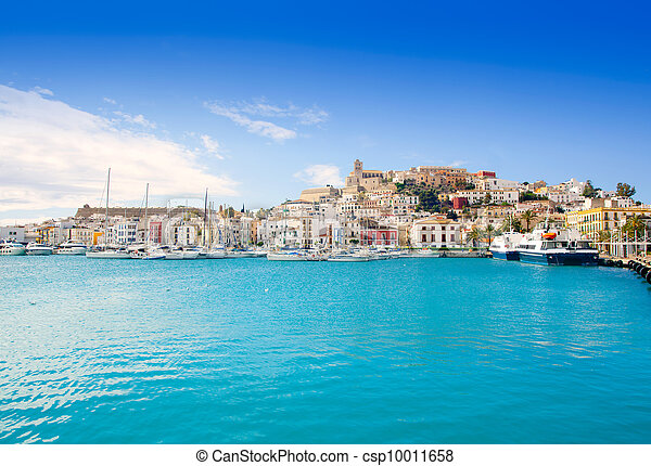 Eivissa Ibiza town with church under blue sky - csp10011658
