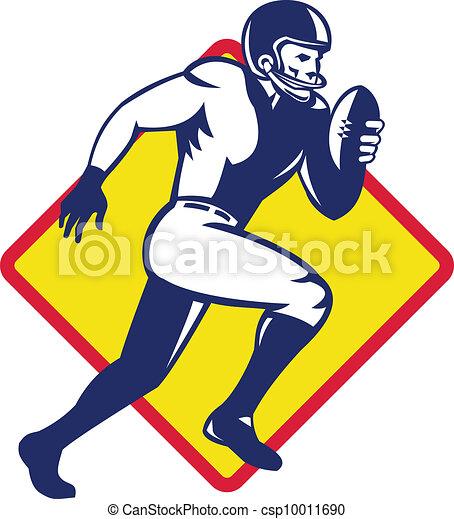 American Quarterback Football Player Running - csp10011690