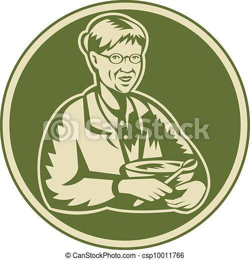 Granny Grandmother Cooking Mixing Bowl - csp10011766