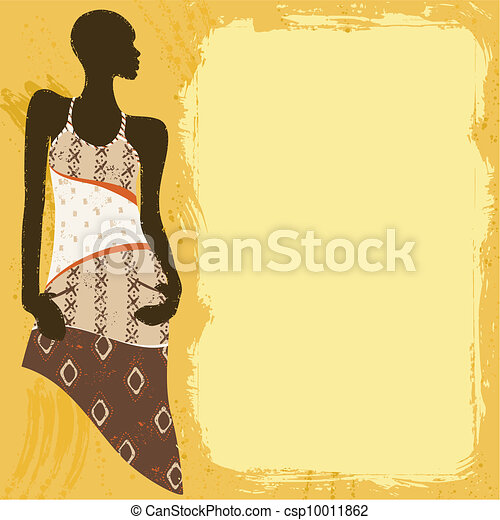 Grungy banner with an African woman - csp10011862