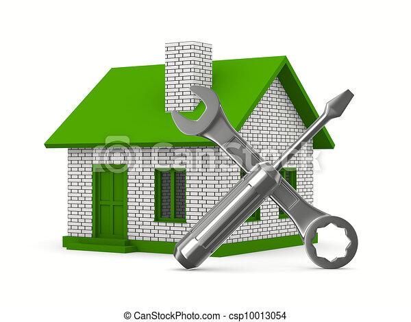 House repairing on white background. Isolated 3D image - csp10013054