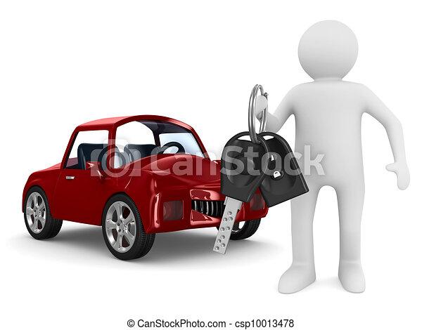Automobile,  image, isolé, clés, homme,  3D - csp10013478