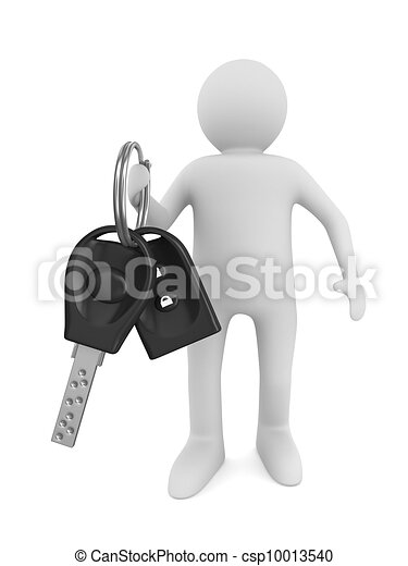 man with automobile keys. Isolated 3D image - csp10013540