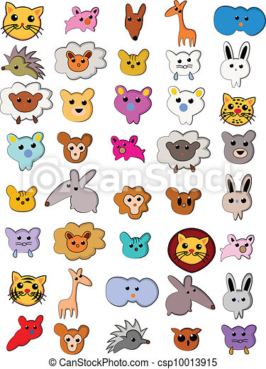 clip art vecteur de mignon dessin anim collection animal vecteur csp10013915. Black Bedroom Furniture Sets. Home Design Ideas