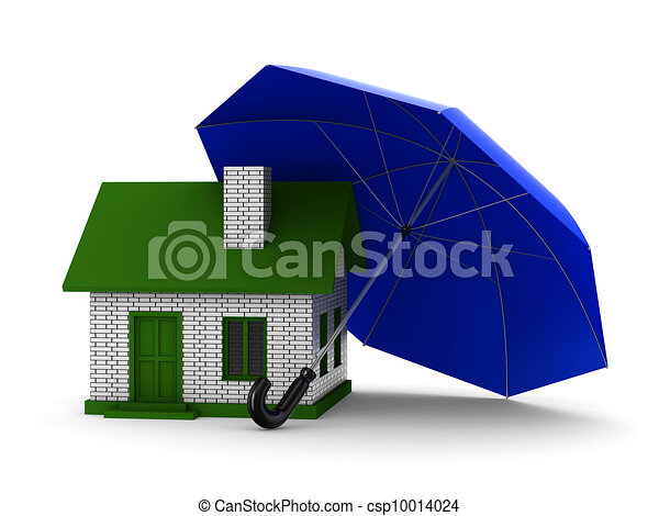 Insurance of habitation. Isolated 3D image on white background - csp10014024