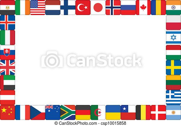 frame made of world flag icons International Flag Borders