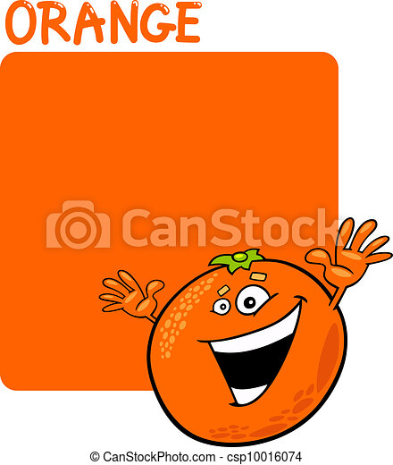 Color Orange and Orange Fruit Cartoon - csp10016074