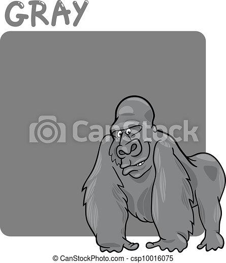 Color Gray and Gorilla Cartoon - csp10016075