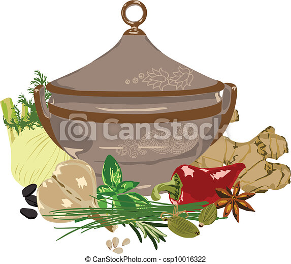 meal and spices on a white backgrou - csp10016322