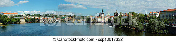 Panorama of old Prague stone bridge over Vltava river, Czech Republic - csp10017332