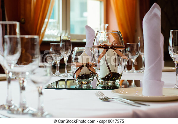 Table setting for wedding dinner