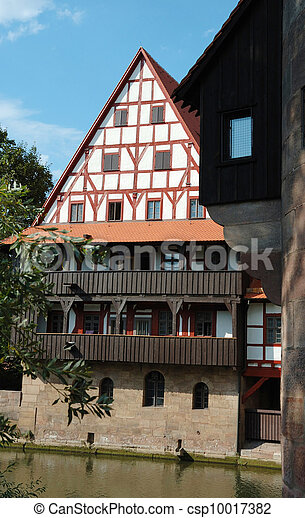 Traditional german half-timbered house on the canal, Nuremberg - csp10017382