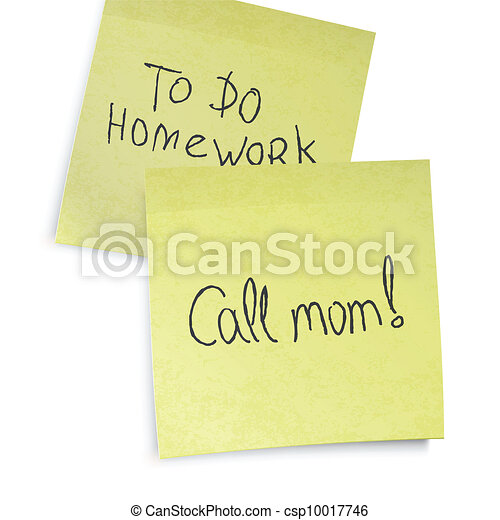 Call mom reminder. Text on yellow sticky notes, vector, EPS10. - csp10017746