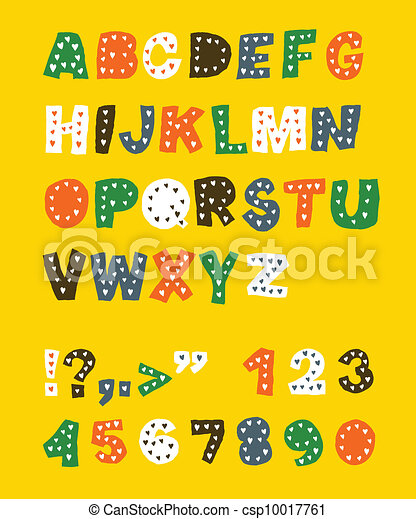 Cute childish alphabet. Vector, EPS 8 - csp10017761