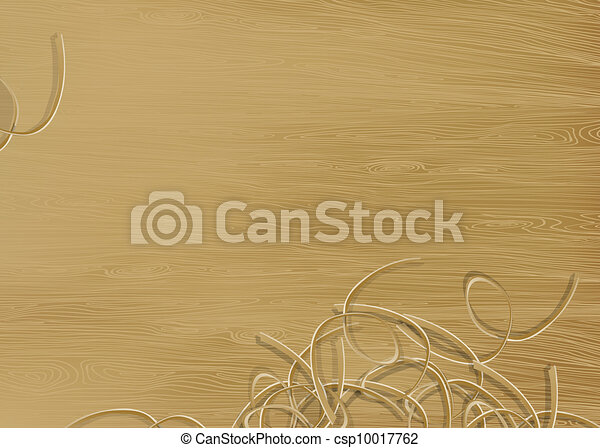 Pine wood texture with shavings. Vector illustration, EPS 10 - csp10017762