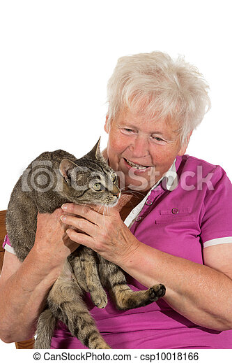 Happy pensioner with her cat - csp10018166