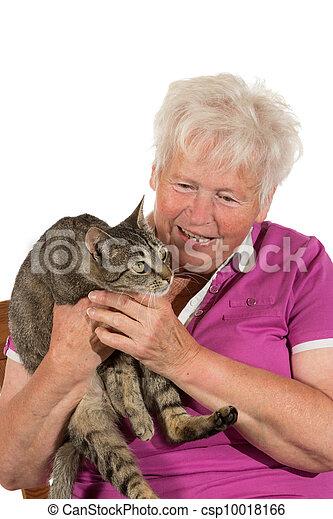 Happy pensioner with her cat - csp10018166