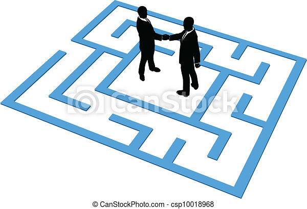 Business people team find connection in maze - csp10018968