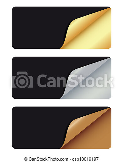 Banners with different corner and place for your text. vector illustration - csp10019197