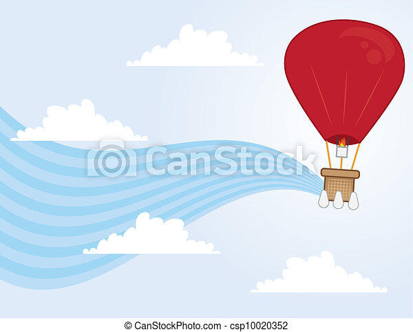 Hot Air Balloon Flowing  - csp10020352
