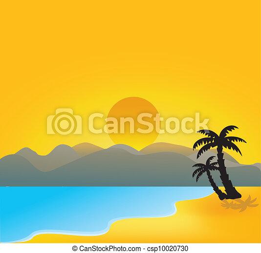 vector tropical beach - csp10020730