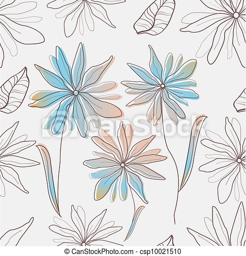 Seamless texture with flowers    - csp10021510