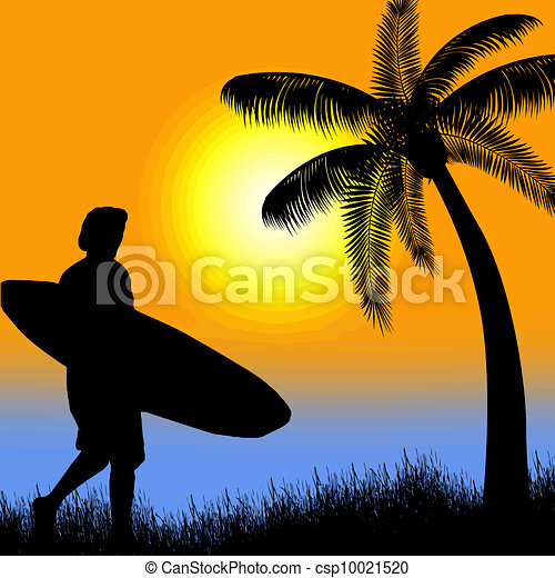 Surfer silhouette on tropical sunset - csp10021520